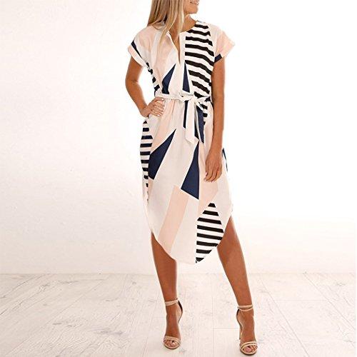 BINGMAX Womens Casual V-Neck Floral Print Geometric Pattern Belted Dress