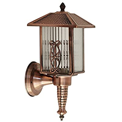 Outdoor Copper Wall Light,Vintage Outdoor Lantern,Outdoor Wall Lantern E27,High-Quality Glass Metal Wall Lamp Outdoor Interior IP44 Waterproof Creative Wall Lamp Shades with E27 Light Source Fitting by Jiele