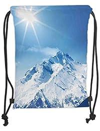 6320119b70 TARzz Drawstring Backpacks Bags,Apartment Decor,Photo of Big Mountains  Snowy Peak And Sun