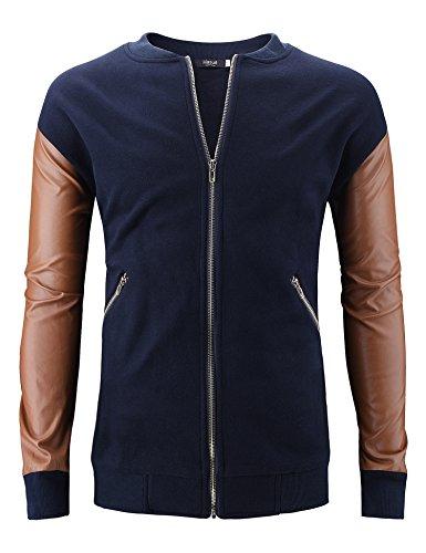 Herren Premium Sweatjacke Freizeit Jacke Kontrast Details Mesh Einsaetze Dunkelblau S-XXL