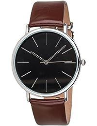 """SIX """"Geschenk"""" unisex Uhr mit braunem Leder-Armband & schwarzem Zifferblatt mit silbernen Details in hochwertiger schwarzer Geschenkbox (274-355)"""