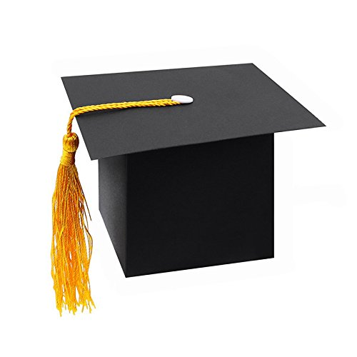 SODIAL 25Pcs DIY Papier Graduation Cap Geformte Geschenkbox Zuckerschoko Box Fuer Abschluss Party Favor Cap Bachelor Hut Hochzeit Pralinenschachtel Geschenk Schwarz (Diy Graduation Cap)