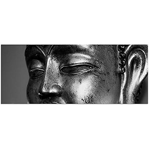 Foto de vidrio acrílicoo AG312500468 Mural Estatua de Buda Silver / ARGENTO 125 x 50 cm / De gran formato La pintura moderna / Soporte de pared INCLUIDO / HANDMADE / Sala de estar, oficina, cocina / Impresión directa sobre plexiglás, LIFESTYLE listo para colgar! No la pintura al óleo! oder Plakat – PREZZO di