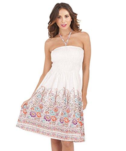 Pistachio - Robe Femme Eté 3-en-1 Motif Floral Coton, Bleu 2, S (EU 36-38) Blanc et Rose Floral
