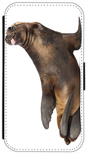 Flip Cover für Apple iPhone 6 / 6S (4,7 Zoll) Design 511 Delphin Delfin lustig Blau Grau Hülle aus Kunst-Leder Handytasche Etui Schutzhülle Case Wallet Buchflip mit Bild (511) 515