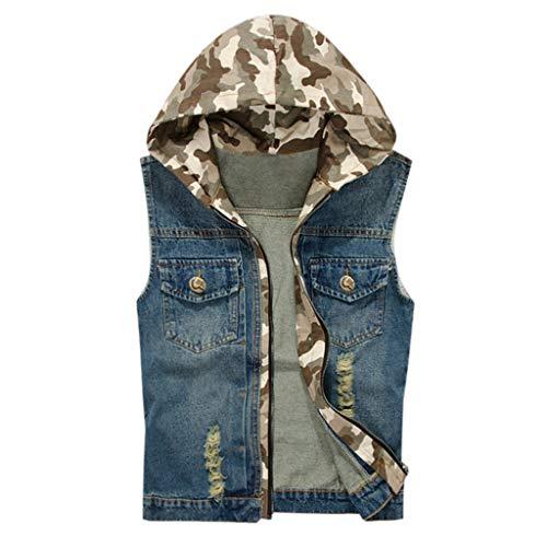 Preisvergleich Produktbild Mens T-Shirt Herren New Fashion Denim Weste Casual Cowboy Jacke In Schulterbluse