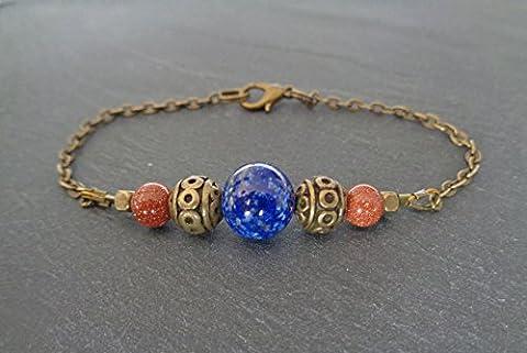 Bracelet gourmette bronze lapis lazuli et pierre de sable, ethnique, minimaliste, gemstone bar