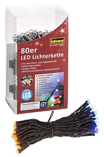 Idena 30117 LED Lichterkette mit 80 LED in bunt und 8 Lichtfunktionen, mit 6 Stunden Timer Funktion, Batterie betrieben, für Partys, Weihnachten, Deko, Hochzeit, als Stimmungslicht, ca. 6,5 m