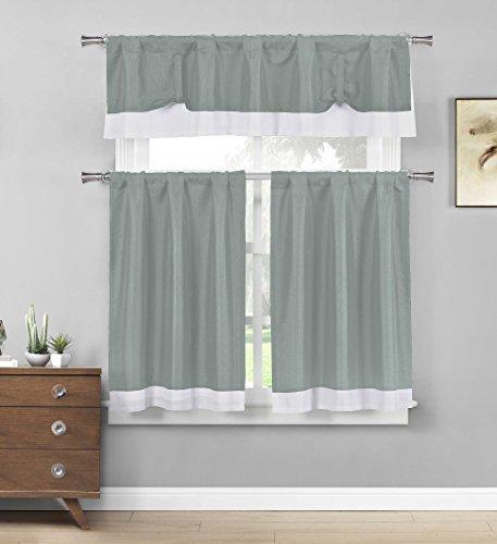 Drei Stück Küche/Cafe Etagen Fenster Vorhang Set: Weiße Bordüre Accent, Polyester-Mischgewebe, grau, Valance: 58in W x 15in. Tiers: 29