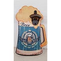 Wurm abrebotellas de Pared 27 cm Madera Cerveza Cristal Azul Divertido abrebotellas Craft Cerveza Cerveza abridor