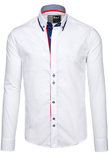BOLF – Chemise casual – avec manches longues – BOLF 6857 – Homme Blanc