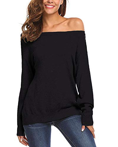 Auxo Damen Schulterfrei Langarm Shirt Lose Oversize Sweatshirt Asymmetrisch Tops Oberteile 02-schwarz S