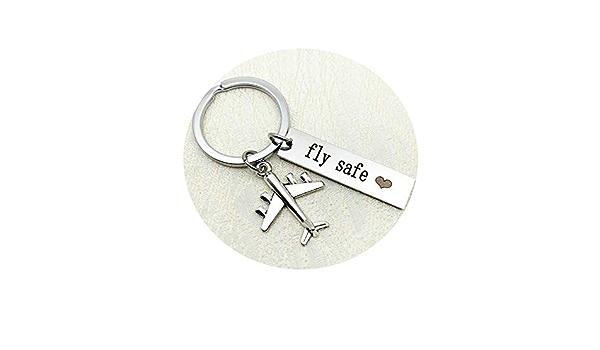 Hiuyoo Schlüsselkette Edelstahl Flugzeug Mit Tag Gravur Fly Safe Schlüsselanhänger Fahr Vorsichtig Edelstahl Schlüsselanhänger Silber Schmuck