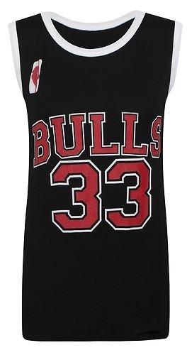 Desire Clothing Gilet de Style Basketball NBA Chicago Bulls 33 pour le Celeb Look 'Amerika, BULLS: BLACK, 8 / 10