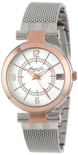 Kenneth Cole KC4869 - Reloj analógico de Cuarzo para Mujer con Correa de Acero Inoxidable, Color Plateado