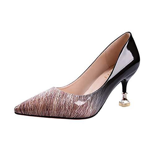 Qimaoo Damen Pumps 7cm High Heels Elegant Abendschuhe Sandalen Sommer Schuhe mit Absatz Schwarz Rot Braun Weiss für Frau