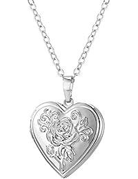 U7 Colgante de Guardapelo en Forma de Corazón con Rosa Grabada para Dos Fotos Chapado en Platino/Oro 18K/Oro Rosado con Caja Regalo