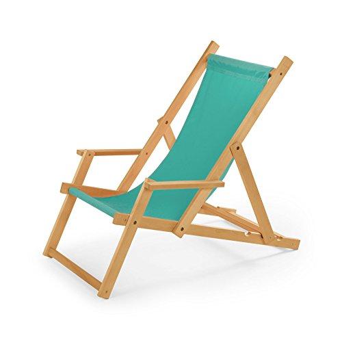 Chaise longue de jardin en bois, Transat, Chaise longue relax de plage, chaise longue avec accoudoirs. Türkis