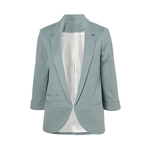 LuShmily Damen Boyfriend Blazer Braun grau Medium