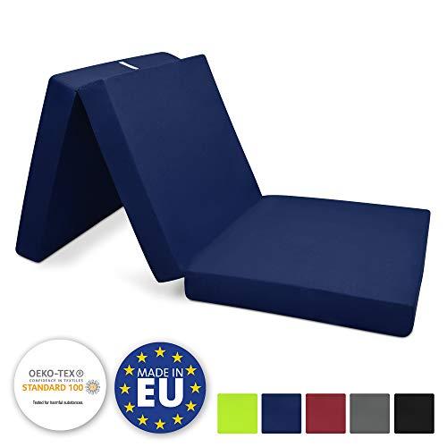 Beautissu materassino campeggio futon pieghevole ospiti campix 80x195cm soffice confortevole e funzionale - blu