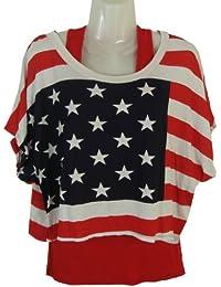 Damen Top (kurzes Über-T-Shirt mit kurzen Fledermaus-Ärmeln) und Leggings, Made in Italy