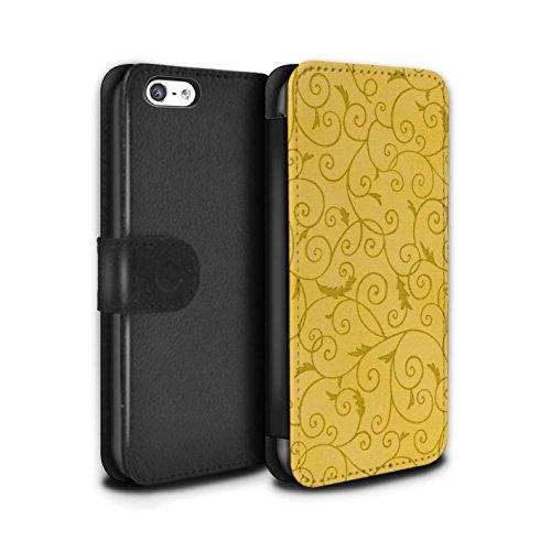 Stuff4 Coque/Etui/Housse Cuir PU Case/Cover pour Apple iPhone 5C / Turquoise Design / Motif de la vigne Collection Jaune