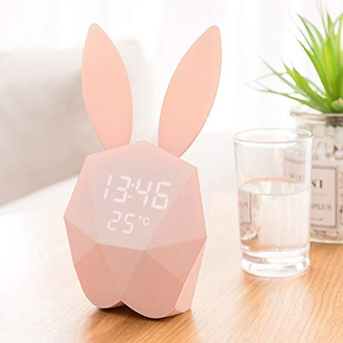 CHCUAN Cute Bunny Alarm Clock Wall Clock Night Light Table Clock Wake up Light Cartoon Rabbit Bedside Table Lamp Gift for Kids Children Adults Alarm Control Interface