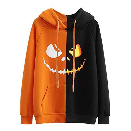 Obestseller,Halloween Pullover Damen,Teenager MäDchen Langarm KüRbis Pulli Pumpkin Pullover Locker Kapuzenpullover Hoodies Sweatshirts Casual (Top Teenager Mädchen Kostüm)