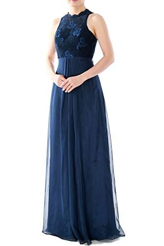 MACloth Women High Neck Long Lace Chiffon Bridesmaid Dress Formal Evening Gown Burgunderrot