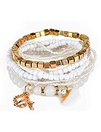 JAJAFOOK Vintage Coque Tassel Dangle Perles Multicouche Stretch Bracelets Bohème Ensemble de Bijoux pour Femmes Filles