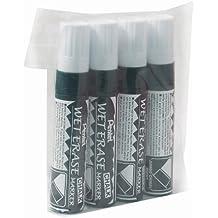 Pentel Wet Erase - Juego de rotuladores para pizarra (4 unidades, tamaño grande, basados en agua, tinta blanca)