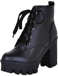 da84cb8fee10 YE Bottes Courte Chaude Bottines Plateforme Femme à Lacets Talon Haut Bloc Ankle  Boots Woman Chaussures