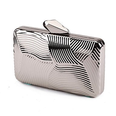 pwne L. In West Woman Fashion Luxus Hochwertige Metallbox Geometrische Abend Tasche Silver
