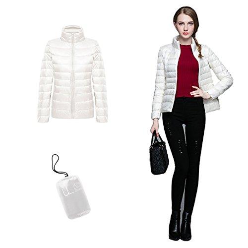 GWELL Damen Ultra Leicht Daunenjacke Winter Mantel Übergangsjacke Weiß
