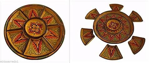Tajine Couscous antipastiera plat terre cuite Pottery marocain Moroccan Ø 35peint à la main