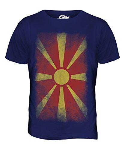 CandyMix Mazedonien Verblichen Flagge Herren T Shirt Navy Blau