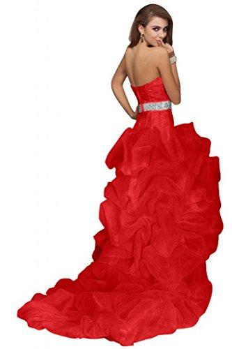Sunvary Fashion Hi lo-Vestito stile abito da sera Sweetheart Organza sera 2014 Red