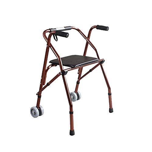 Folding Walker YX Klappbarer Gehwagen, verstellbar mit Sitz und 2-Rädern-Gehgestell für ältere Menschen. Mobiles Assistenzgerät. Leichte Höhe für Behinderten- und Unterkörpertrainer (Folding 2-rädern Walker)