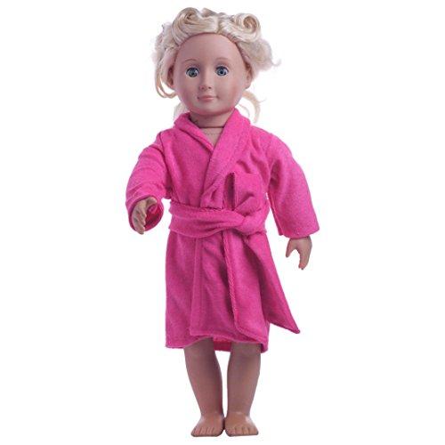 Puppen Kleidung , YUYOUG Süße weiche Robe Puppen Robe Fit für 18 Zoll (45-46cm) Puppen Unsere Generation American Girl Doll (Rosa)