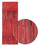 Cortina brillante rojo metalizado 3x8 pies (91x244 cm) - Unidad