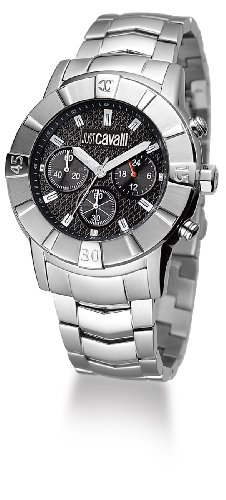 Just Cavalli Unisex Watch R7273661025 In Collection Crystal with Chrono, Black Dial and Stainless Steel Bracelet