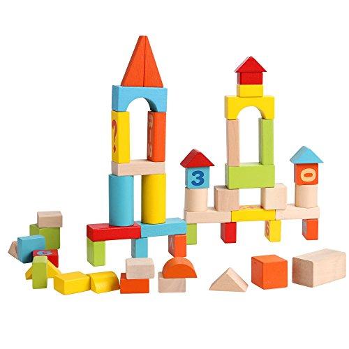 CRAVOG Bausteine Holz Baby Bauklötze 52 Stücke Bunt mit Obstmuster Alphabet und Zahlen Spielzeug