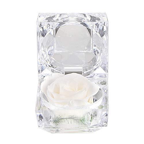 Luoistu regalo san valentino per lei fiore roses, rose mai appassite in scatola ad anello in cristallo san valentino, natale, anniversario, compleanno, matrimonio(bianco)
