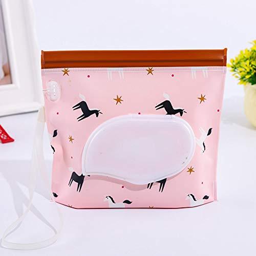 ZAK168 - Bolsa de toallitas Reutilizable y Recargable, autoadhesiva, para bebé, con Soporte para toallitas húmedas, de PVC, portátil, para Viajes, dispensador de toallitas