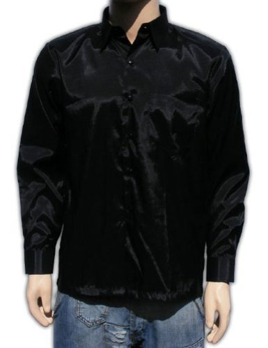 Chemise en soie thaïlandaise hommes à Manche Longue / Noir Taille XL