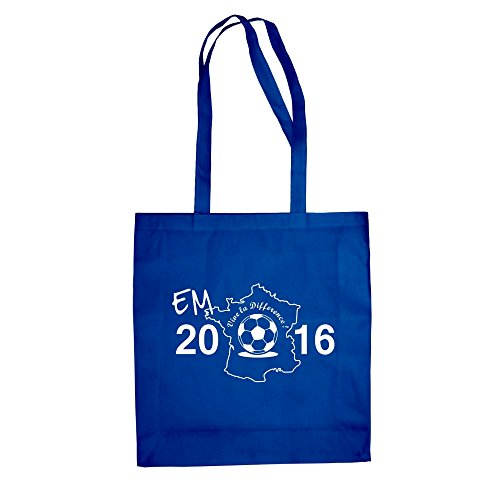 Baumwolltasche - EM 2016 - Vive la Difference - von SHIRT DEPARTMENT royalblau-weiss