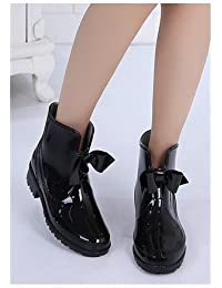 Botas de lluvia del arco de las muchachas del otoño y del invierno botas de lluvia suave estupendo impermeable anti - Zapatas antideslizantes botas de lluvia dulce salvajes ( Color : Negro , Tamaño : 40 )