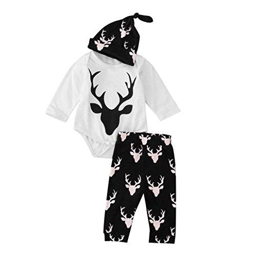 Hunpta Weihnachten jungen Mädchen Outfit Kleidung Elch Print T-Shirt Strampler + lange Hose + Hut 1Set (90CM, Schwarz) (Herren Weihnachts Outfits)