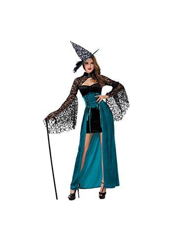 Halloween Kostüm Soloo Damen Hexe Kleid Lang mit Hut Karneval Schwarz Blau (Frau Kostüm Teufel)