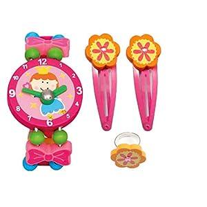 BINO 4 TLG. Set Holzschmuck Mädchenschmuck Kinderschmuck – Haarspangen Armbanduhr Ring